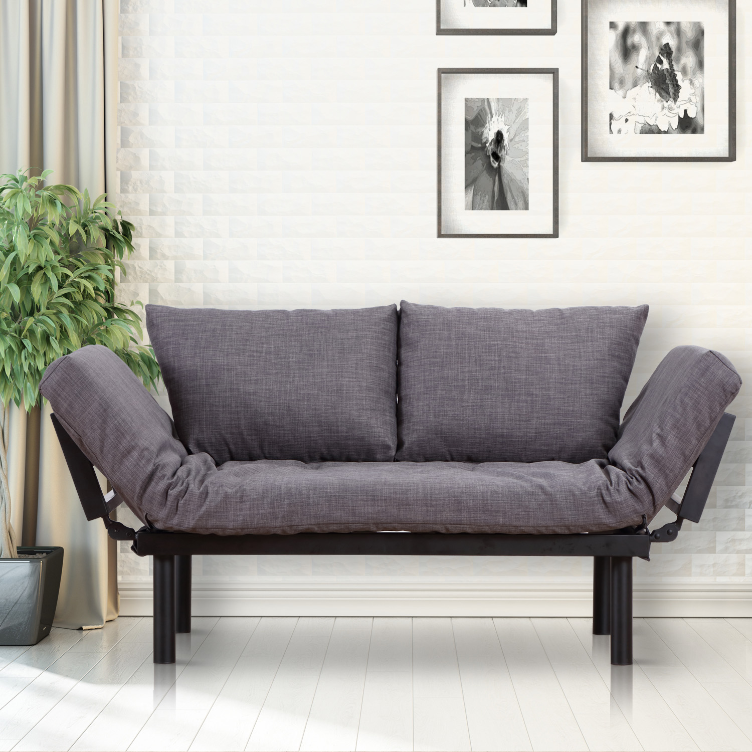 Miraculous Homcom Single Person 3 Position Convertible Couch Chaise Lounger Sofa Bed Black Grey Unemploymentrelief Wooden Chair Designs For Living Room Unemploymentrelieforg