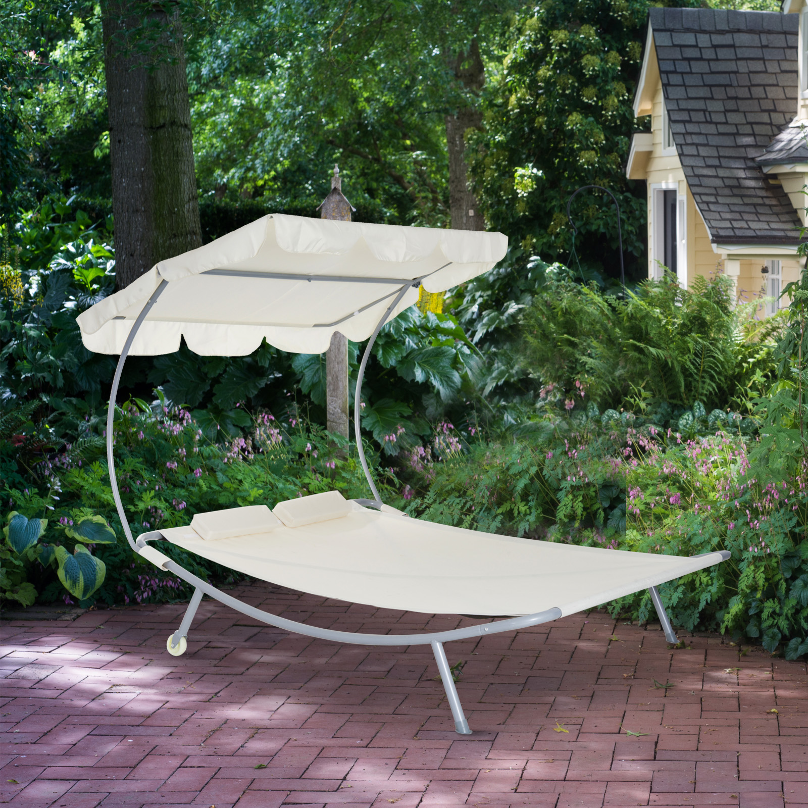 Outsunny Double Chaise Lounge Hammock Sunbed with Canopy and Stand Cream White