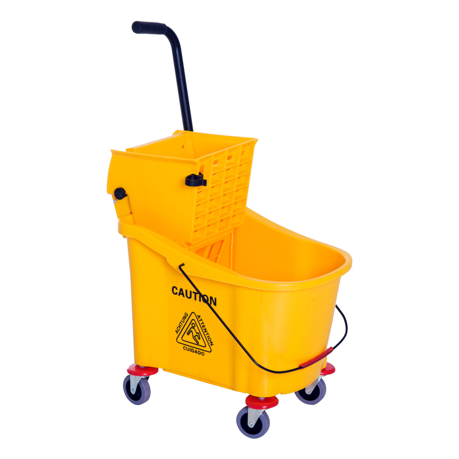 HomCom 95 Gallon Commercial Restaurant Janitorial Cleaning Rolling Industrial Mop Bucket With Down Press Wringer