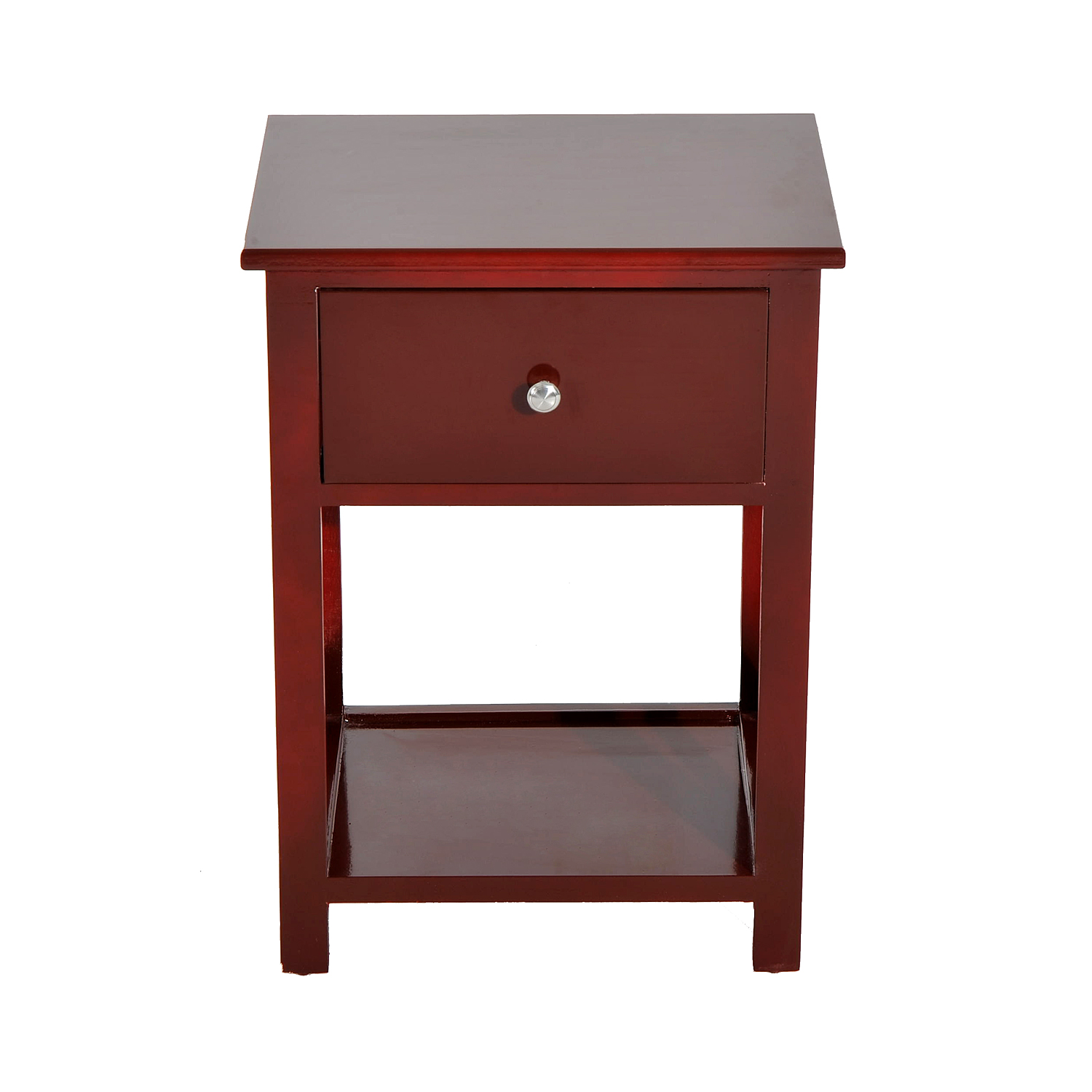 HomCom 22 Traditional Wood Accent End Table With Storage Drawer Chestnut Woodgrain