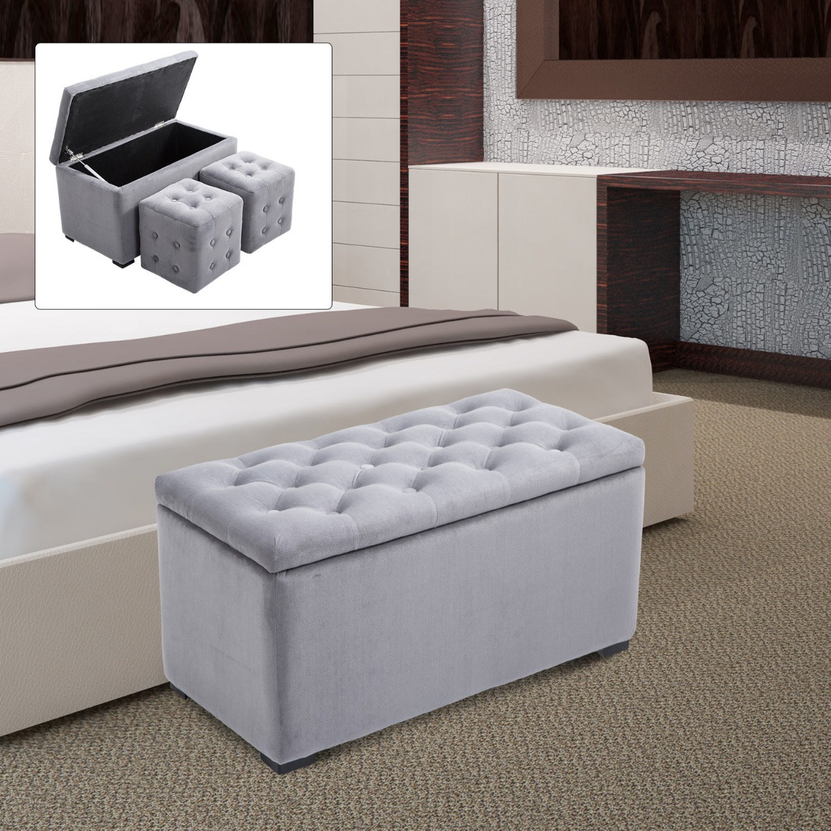 Awesome Homcom 3 Piece Microfiber Tufted Storage Bench And Nesting Ottoman Set Grey Uwap Interior Chair Design Uwaporg