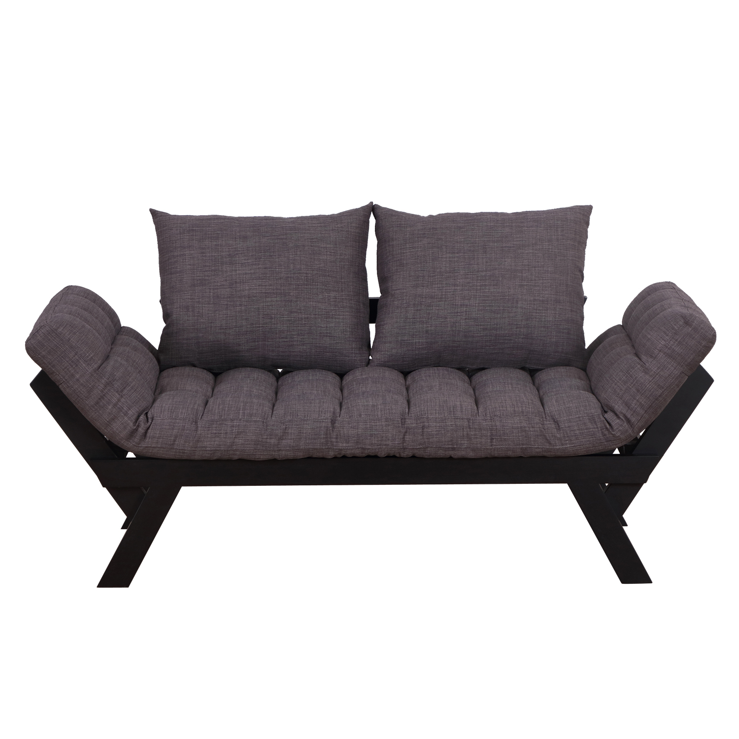 HomCom 3 Position Convertible Chaise Lounge Sofa Bed - Black / Charcoal