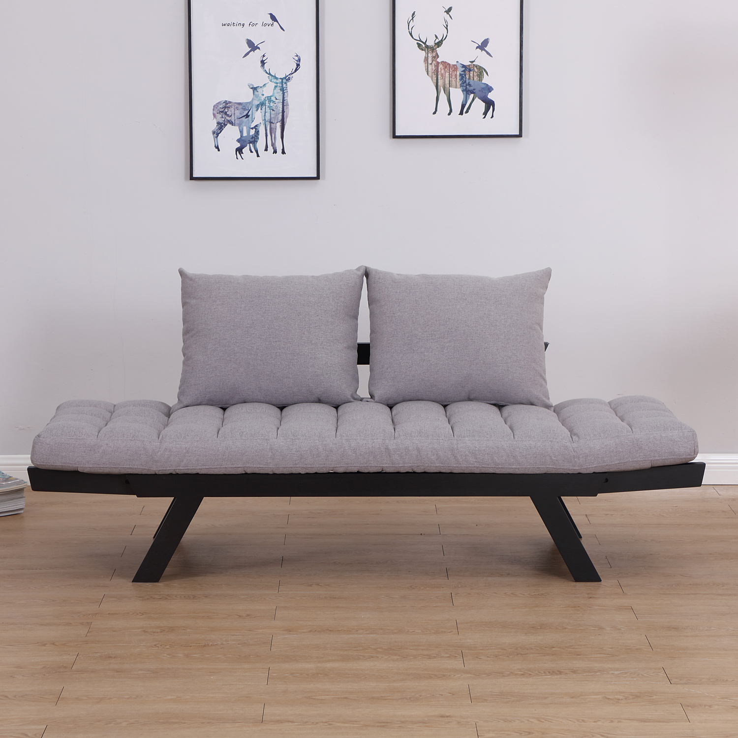 HomCom 3 Position Convertible Chaise Lounge Sofa Bed - Black / Light Grey