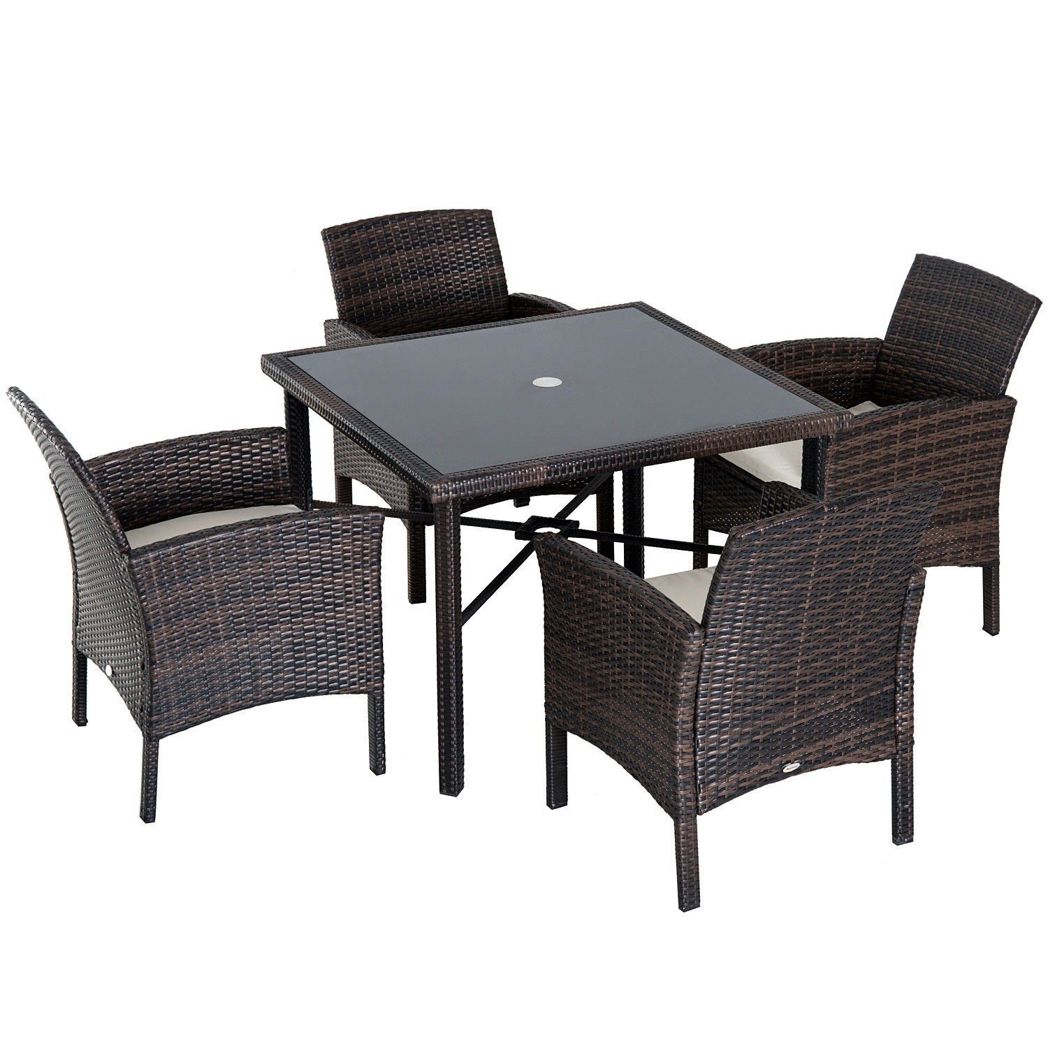 Outsunny 5 Piece Outdoor Patio Rattan Wicker Table And Chair Set