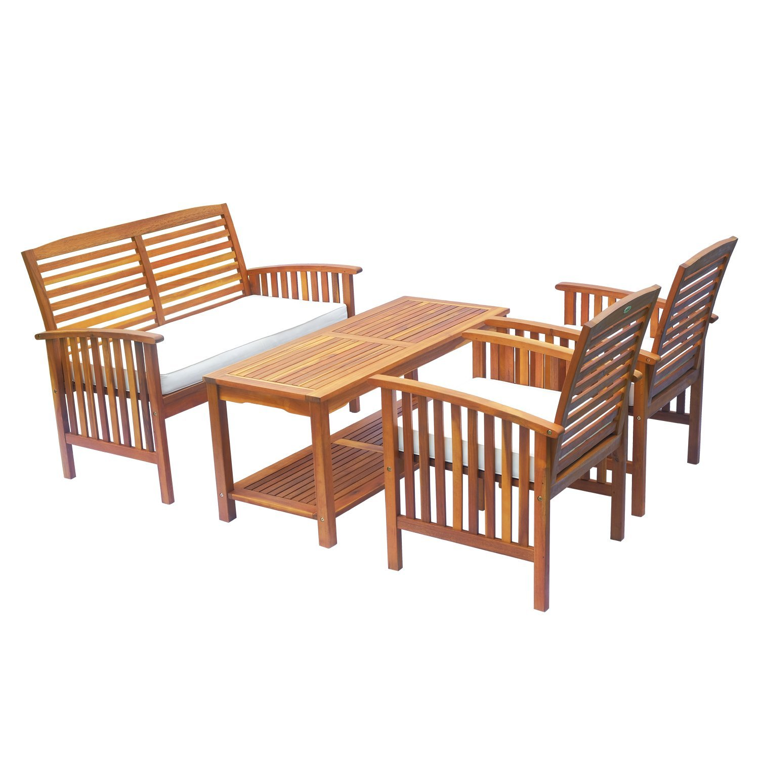 Outsunny 4 Piece Acacia Wood Outdoor Conversation Set ... on Outdoor Loveseat Sets id=79873