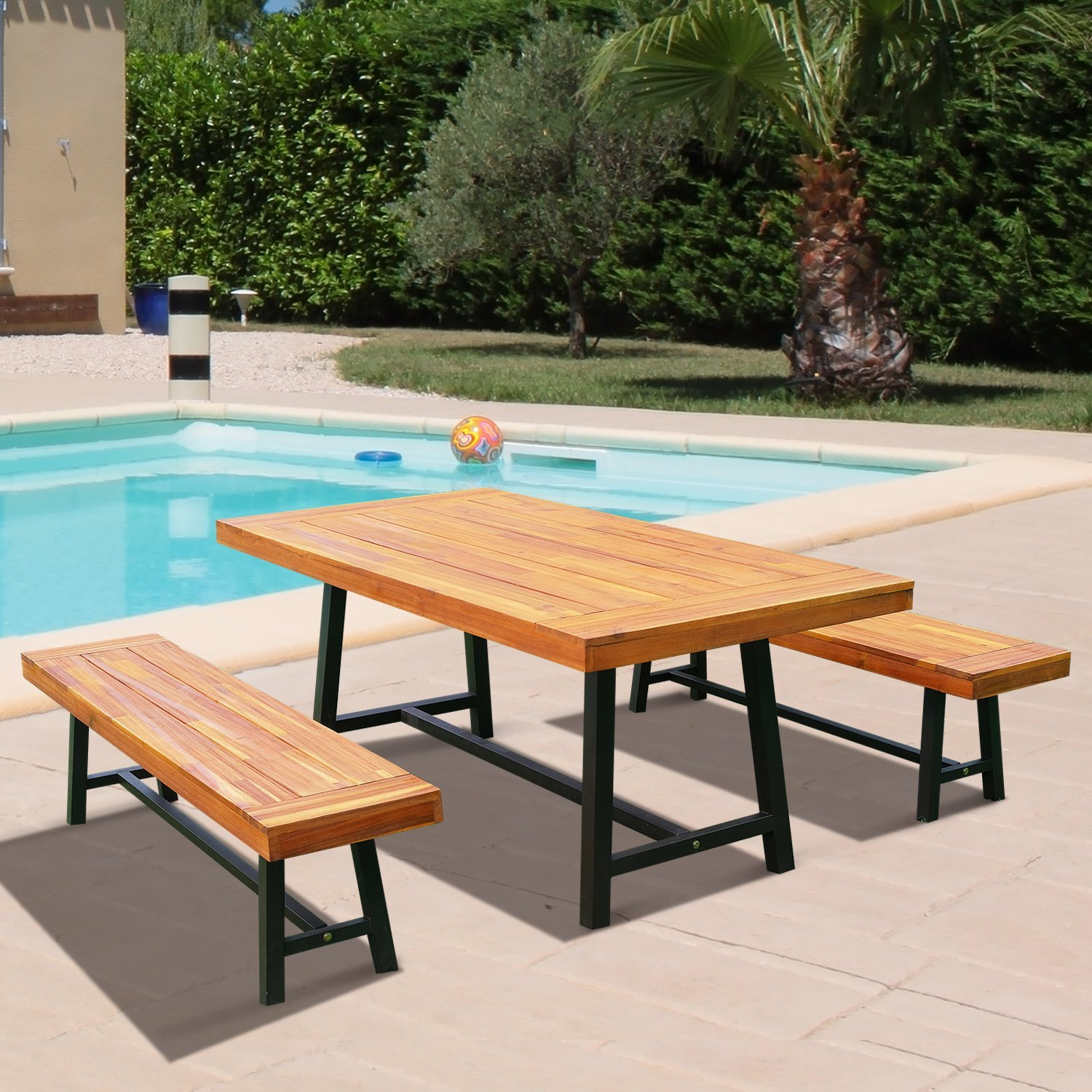 Outsunny 71'' Rustic Acacia Wood Outdoor Picnic Table and 63 Bench Seat Set Natural Red Wood