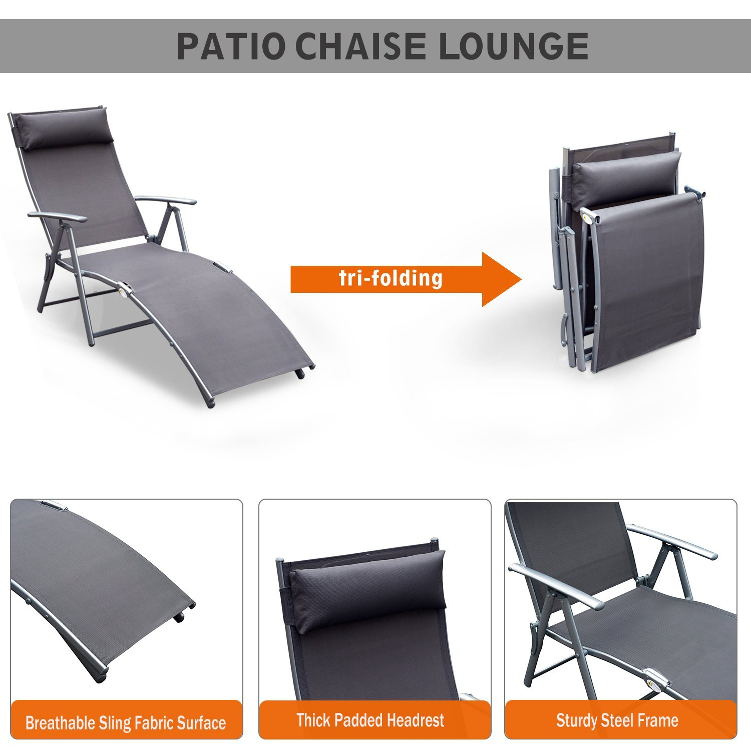 Groovy Outsunny Steel Sling Fabric Outdoor Folding Chaise Lounge Chair Recliner Grey Unemploymentrelief Wooden Chair Designs For Living Room Unemploymentrelieforg