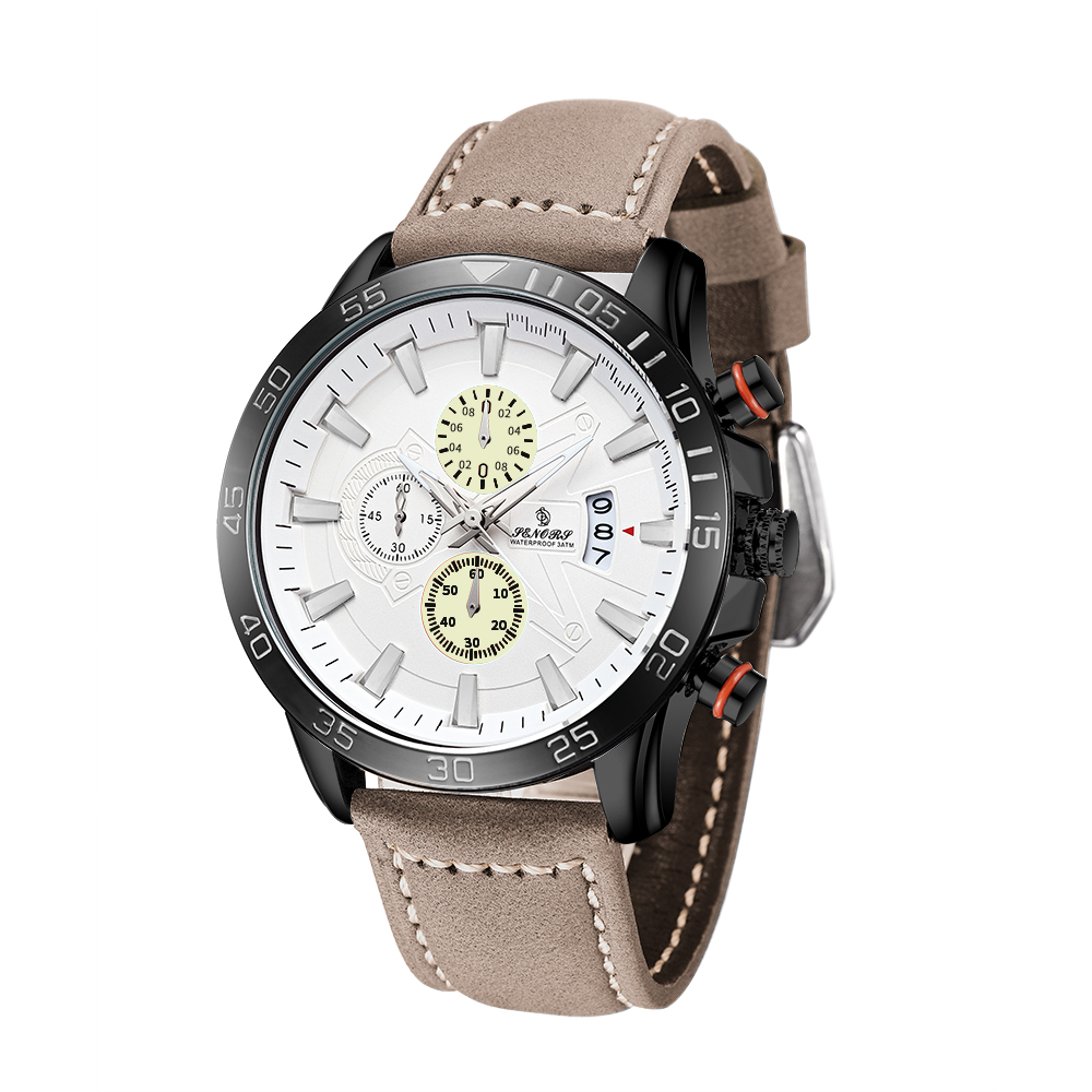 SERNORS Multifunction Chronograph Sports Mens Watches Date Khaki Genuine Leather Strap Quartz Mens Clocks timing fluorescent green dial plate