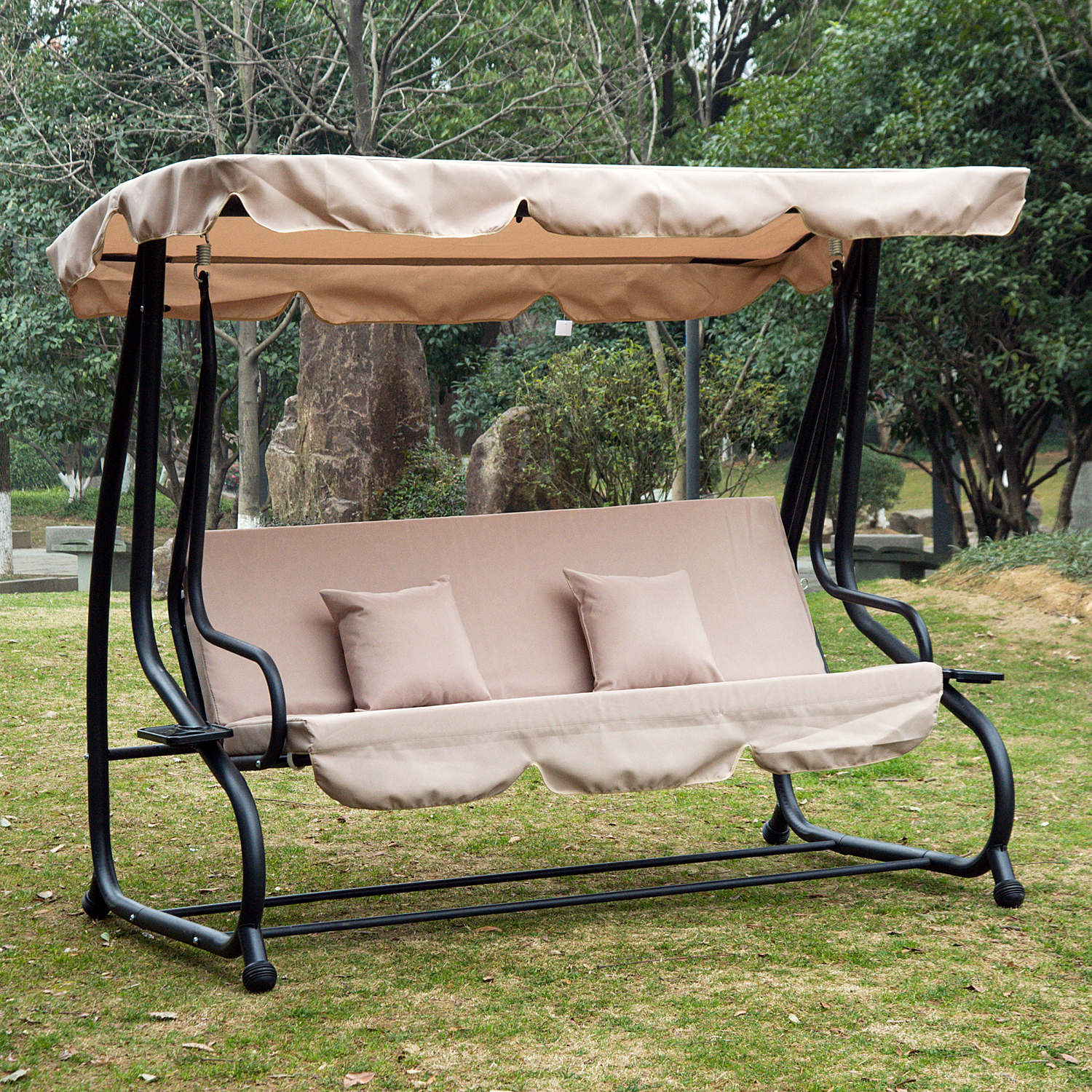 Outsunny 3 Seat Outdoor Free Standing Covered Swing Bench Beige