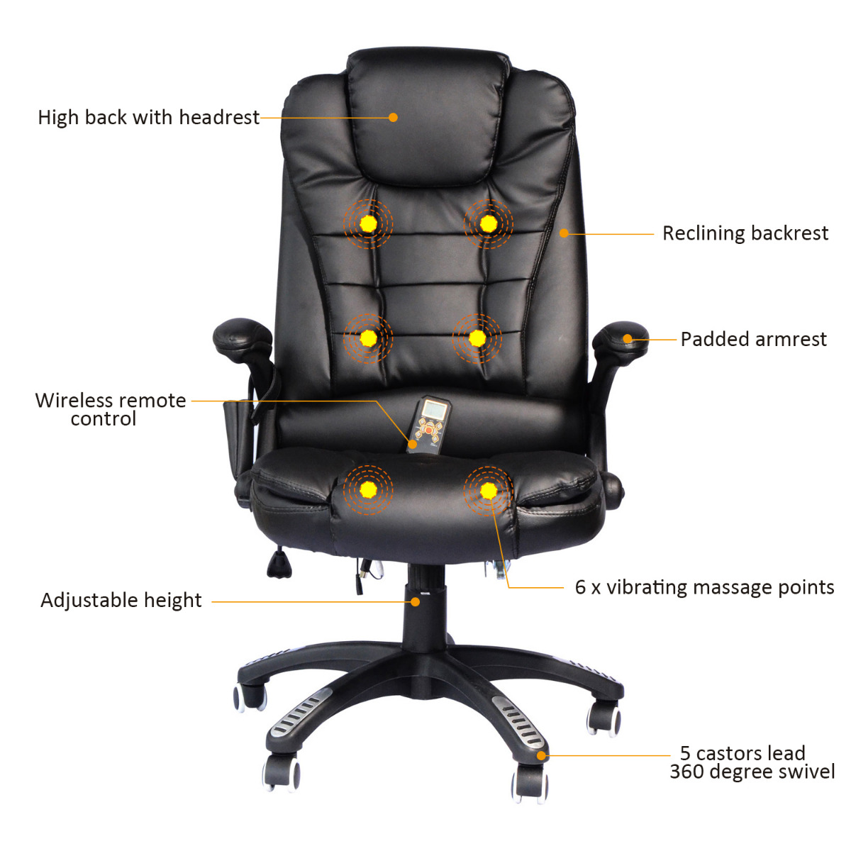 Miraculous Homcom Heated Massage Chair Pu Leather High Back Executive Ergonomic Vibrating Office Chair Black Creativecarmelina Interior Chair Design Creativecarmelinacom
