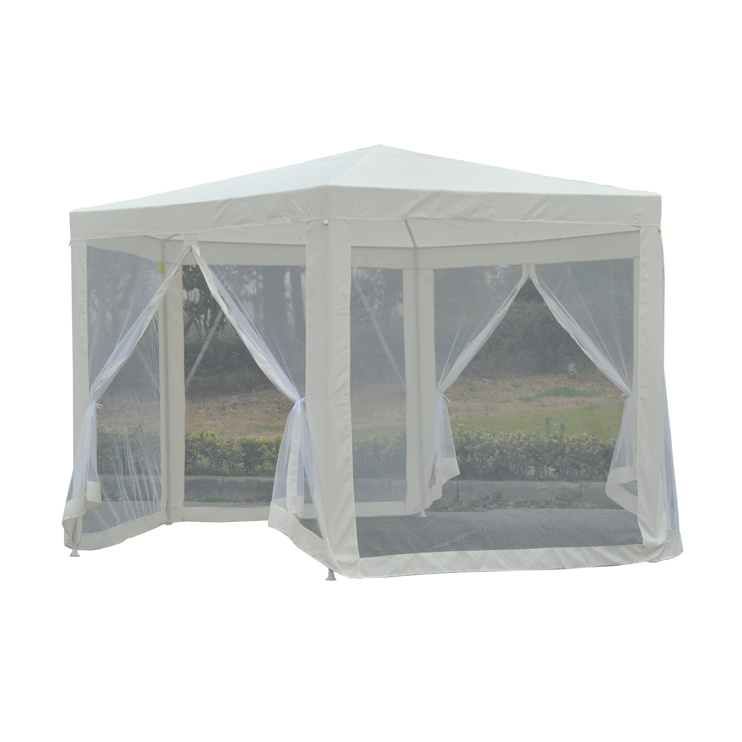 Outsunny Outdoor Hexagon Party Gazebo Tent Canopy Cover with Mesh Side Walls Cream White
