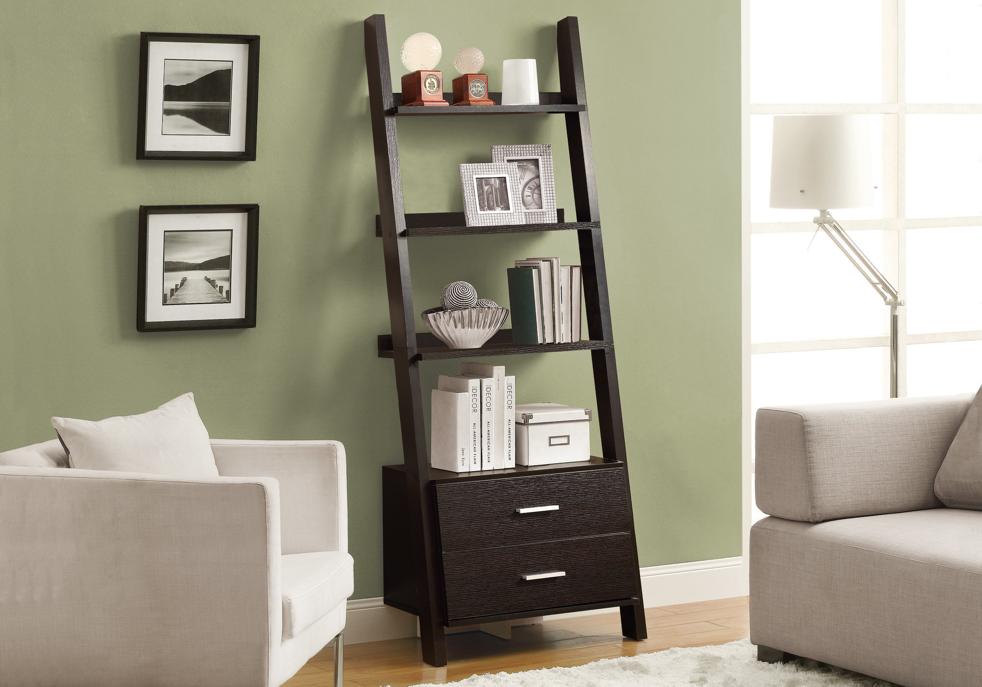 Monarch 69 Contemporary Wood Grain Look 4 Shelf Ladder Bookcase With Storage Drawers Cappuccino Brown Finish