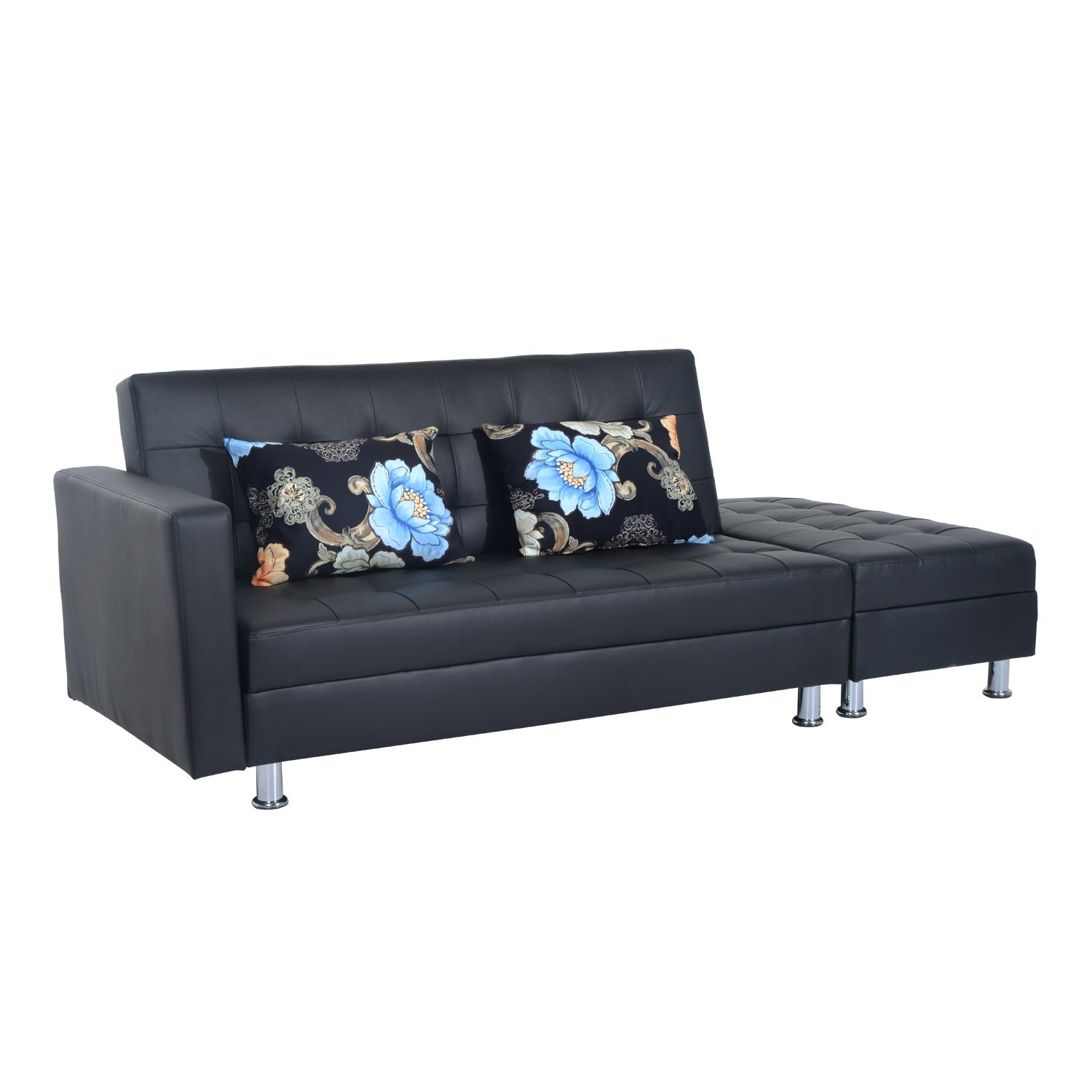 HomCom Faux Leather Convertible Sofa Sleeper Bed with Storage Ottoman -  Black