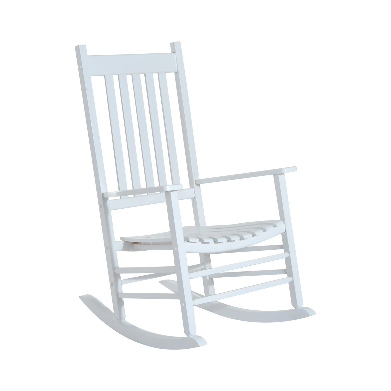 Outsunny Versatile Wooden Indoor Outdoor High Back Slat Rocking Chair White