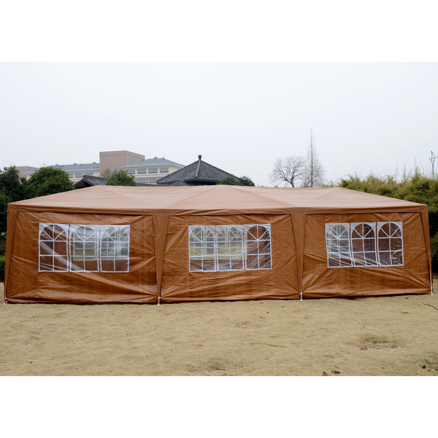 Outsunny 10u0027 X 30u0027 Party Gazebo Tent With 8 Walls   Outdoor Shades   Outdoor