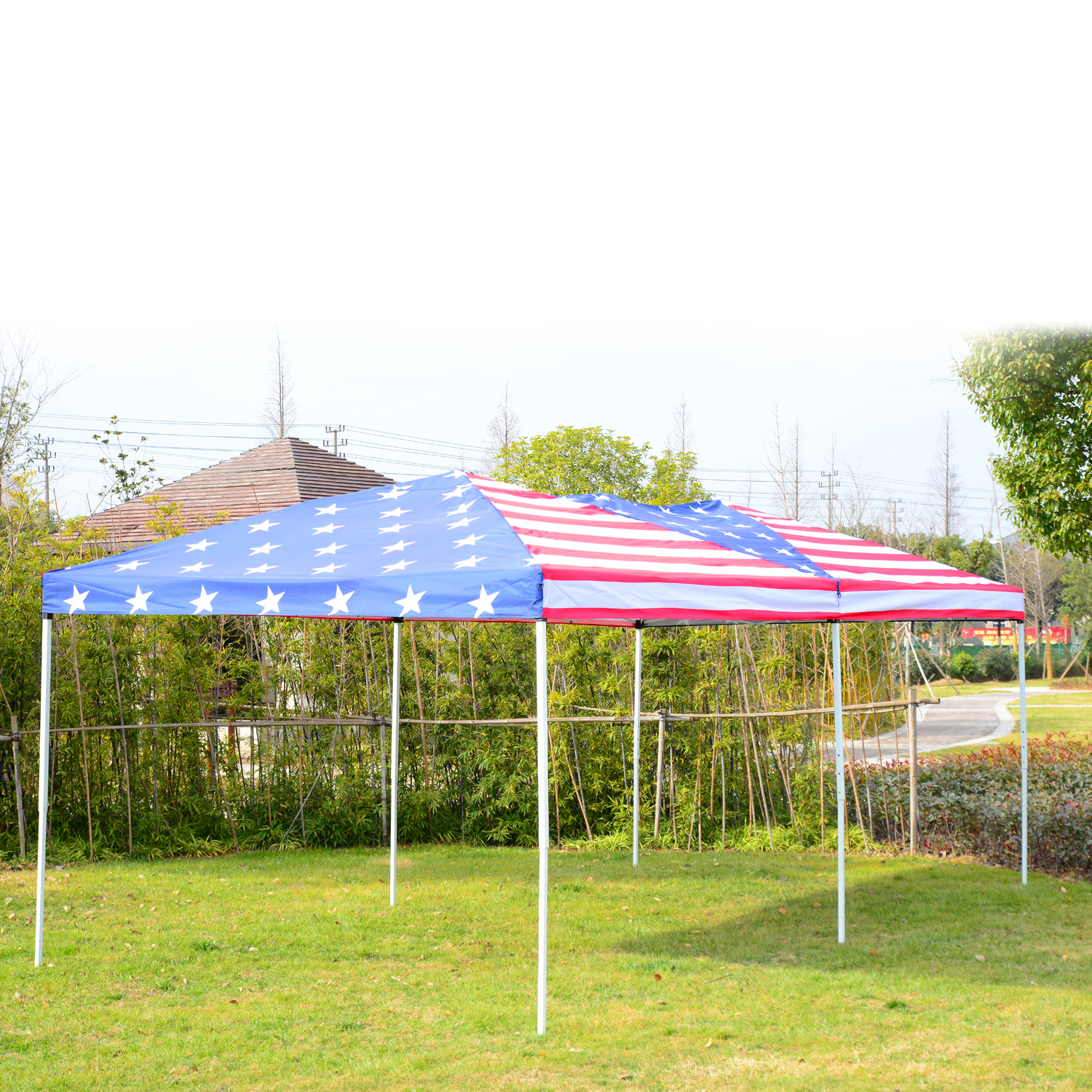 10x20 Pop up Canopy Tent with Netting Outsunny® American Flag Print