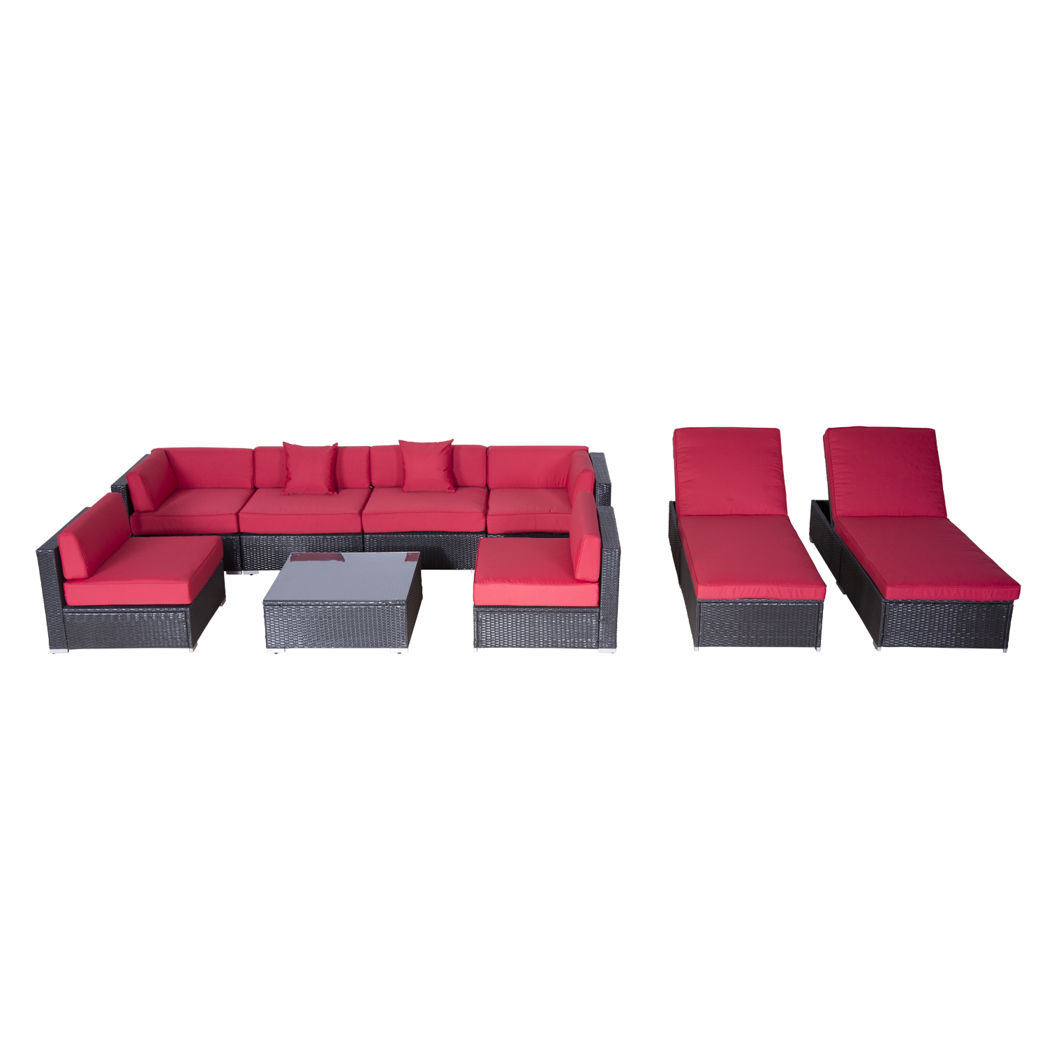 Outsunny Modern 9 Piece Outdoor Patio Rattan Wicker Sofa Sectional U0026 Chaise  Lounge Furniture Set   Crimson   Black Friday 15%   Black Friday
