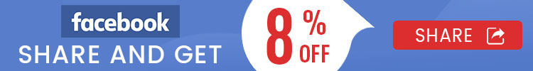 facebook share and get 8% off